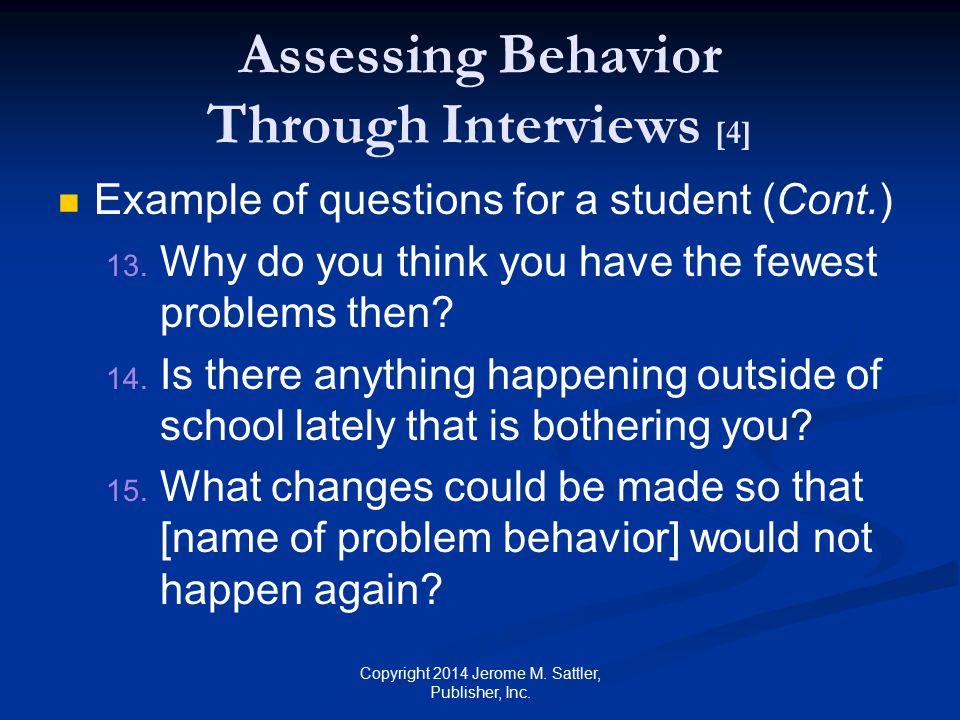 Assessing Behavior Through Interviews [4]